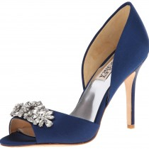Badgley Mischka Giana D'Orsay Pump Navy Satin