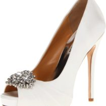 Badgley Mischka Pettal Platform Pump White Satin