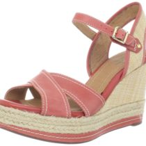 Clarks Amelia Air Espadrille Platform Wedges Red