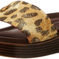 Donald J Pliner FIFI 15-Z1 Wedge Sandal Leopard Print Metallic Haircalf