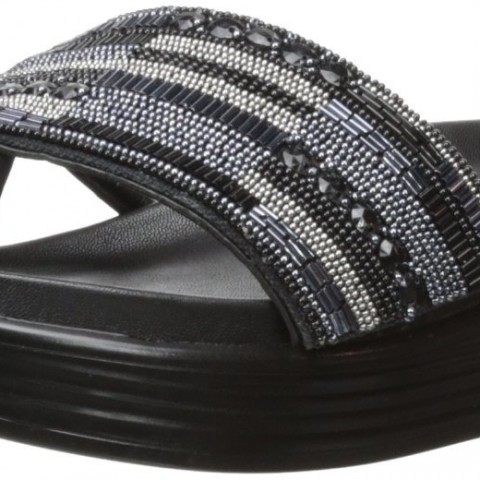 Donald J Pliner FIFI 15SPBD Wedge Sandal Gunmetal Beaded