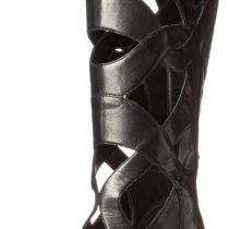 Nine West Dewy Leather Combat Boot Black