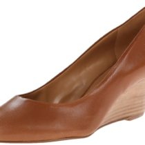 Nine West Mela Leather Wedge Pump DarkNatural