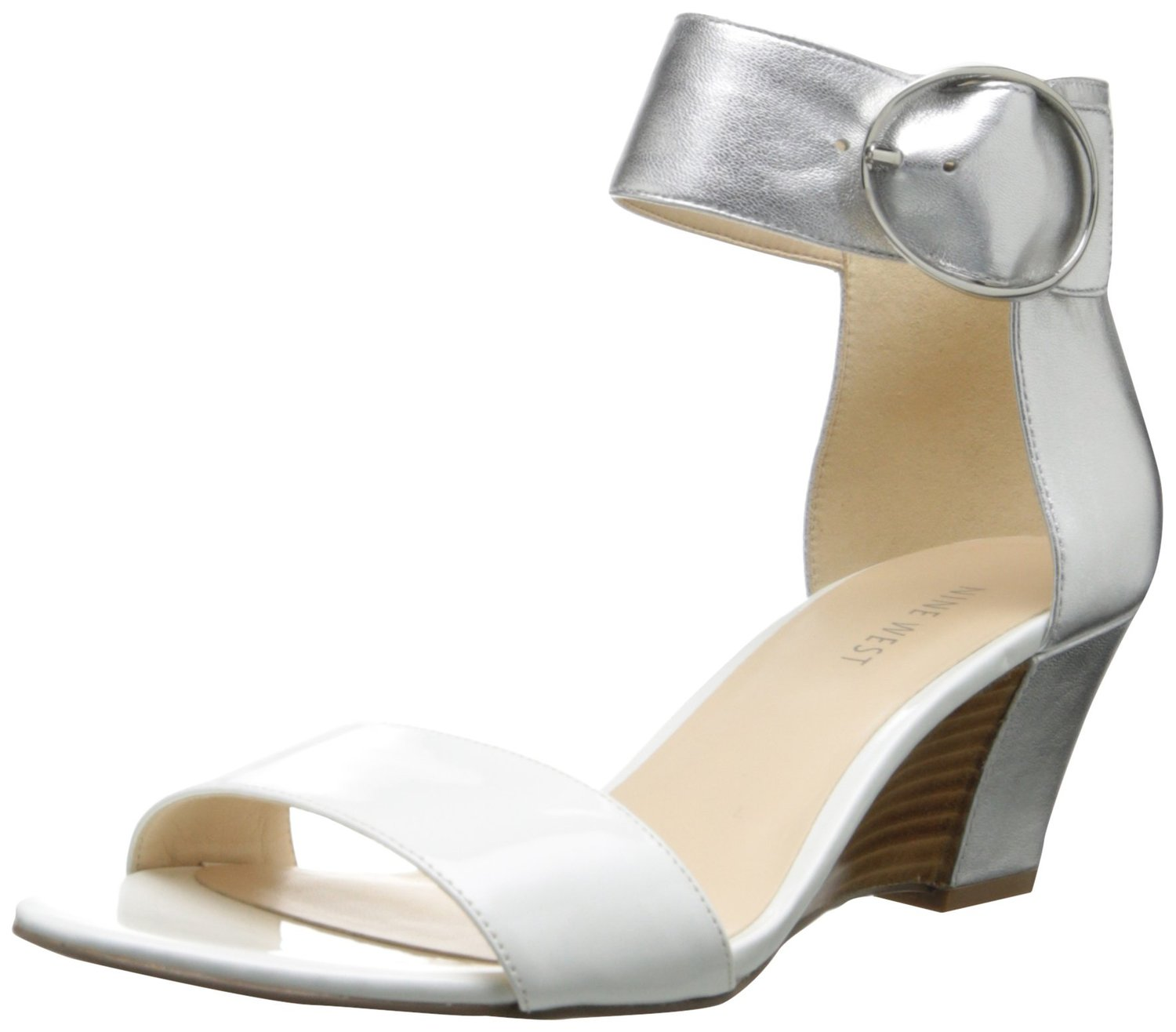 97495b5d7b5 Nine West Ventana Wedge Sandal WhiteSilver