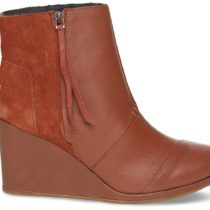 Toms Desert Wedge High Boot Dark Tan Leather Color