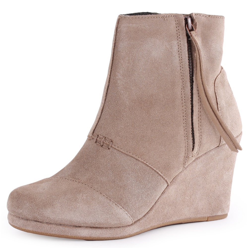 024e97711c4 Toms Desert Wedge High Boot Taupe Suede Color