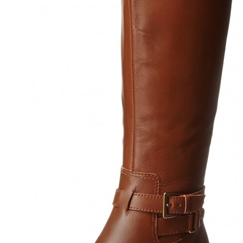 AK Anne Klein Coldfeet Leather Riding Boot Cognac