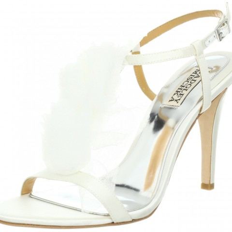 Badgley Mischka Cissy T-Strap Sandal White Satin