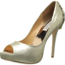 Badgley Mischka Dree Peep-Toe Pump Platino metallic Suede