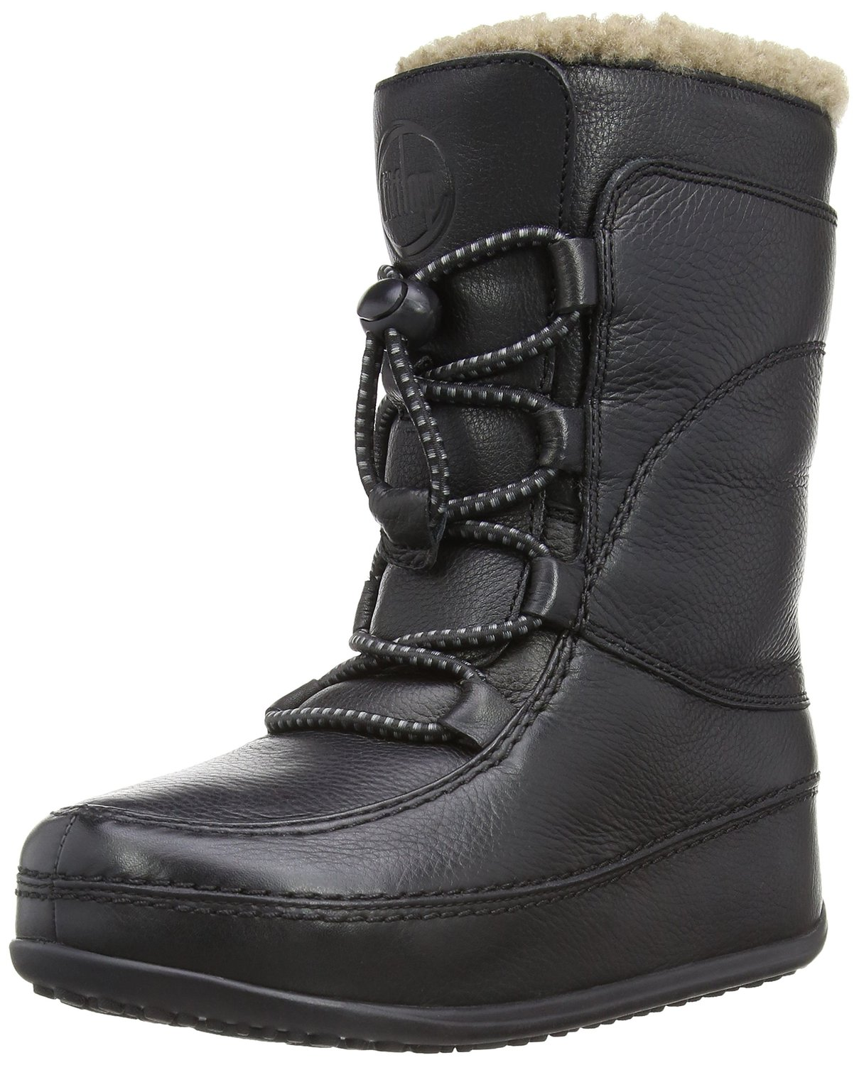 a59938dd018 FitFlop Mukluk Moc Lace Up Leather Boot all black