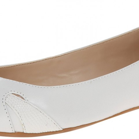 Nine West Acrobat Leather Ballet Flat_whit&white