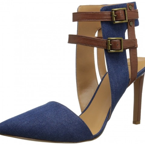 Nine West Catchme Fabric Dress Pump Blue Brown