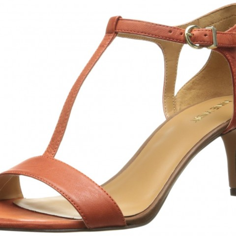 Nine West Grand Leather Dress Sandal Orange Cognac