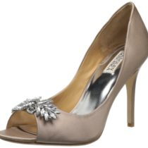 Badgley Mischka Buzz Open-Toe Pump Taupe satin