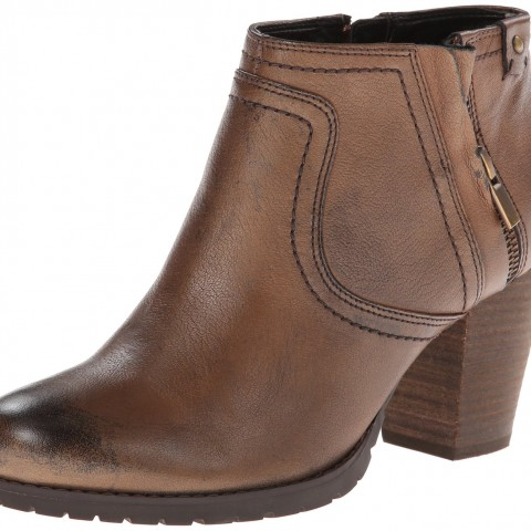 Clarks Mission Halle Zipper Pull On Casual Boot Brown