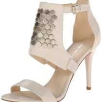 Nine West Dawnonme Leather Dress Sandal Off white