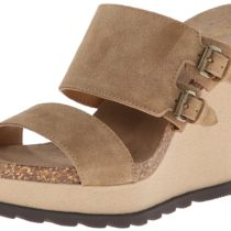 Nine West Liveon Suede Wedge Sandal Taupe