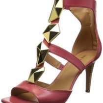Nine West Photoop Leather Dress Sandal Pink Orange
