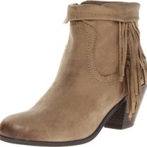 Sam Edelman Louie Ankle Fringe Boot Olive leather