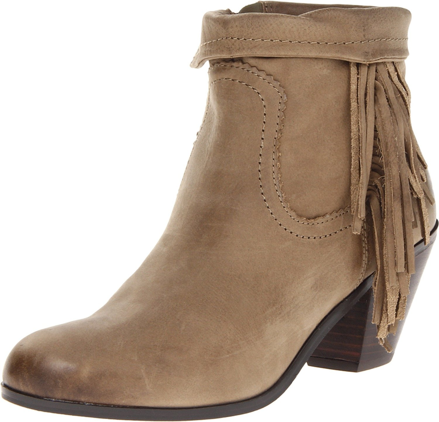 aff3c721833d Sam Edelman Louie Ankle Fringe Boot Olive leather