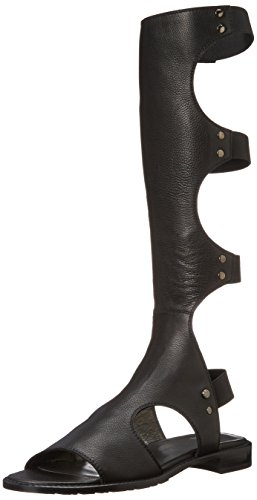 Stuart Weitzman Black Leather Backview Tall Gladiator Boot ...