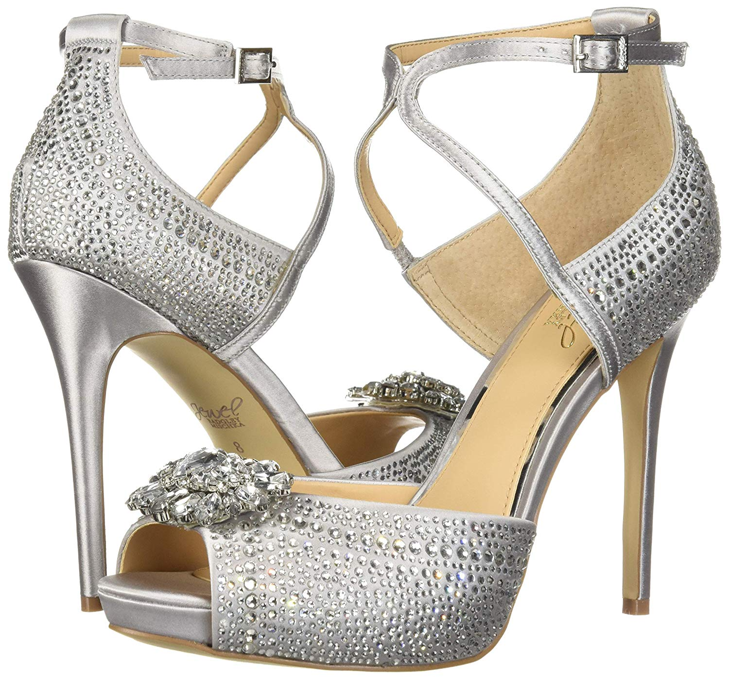 Badgley Mischka Zaina Heeled Sandal Silver Satin