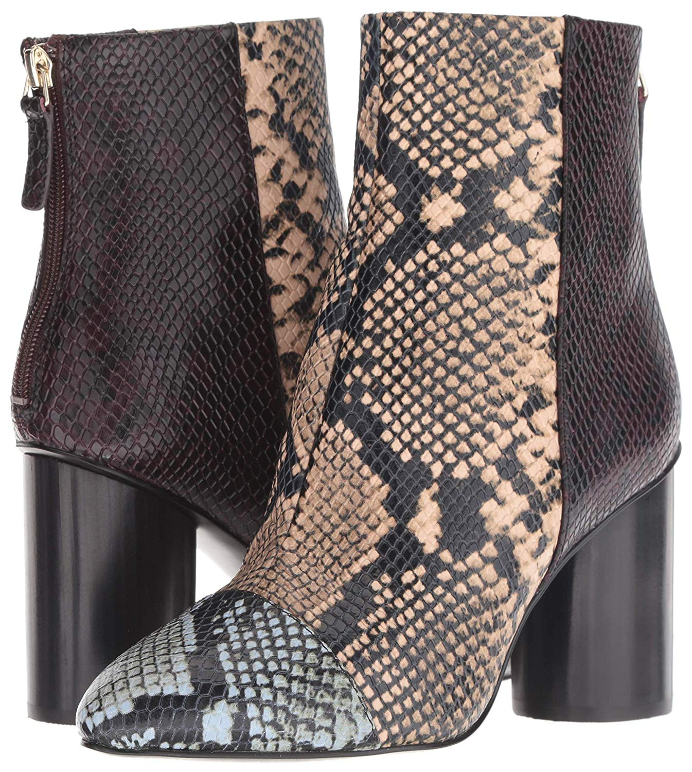 Nine West Cabrillo Reptile Print Ankle Boot Light Natural Multi