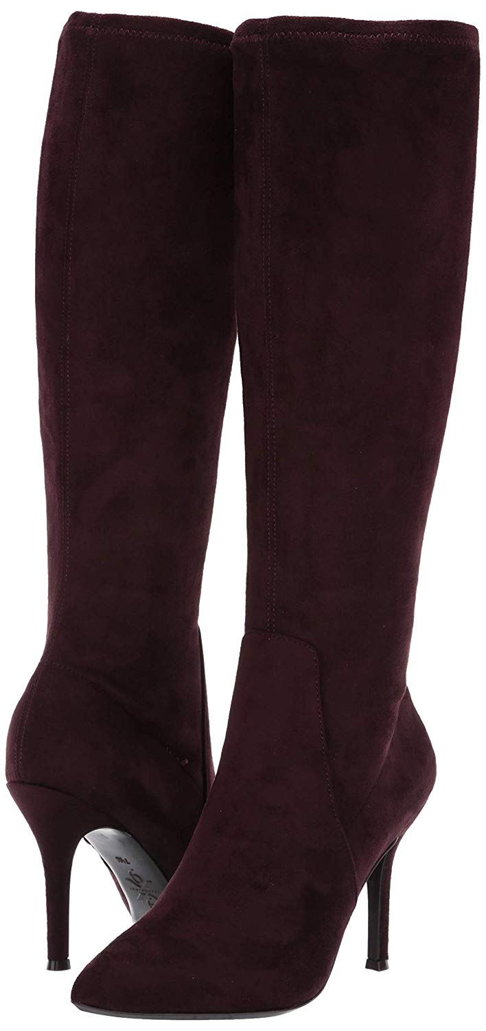 Nine West Fetta Fabric Knee High Boot Dark Purple