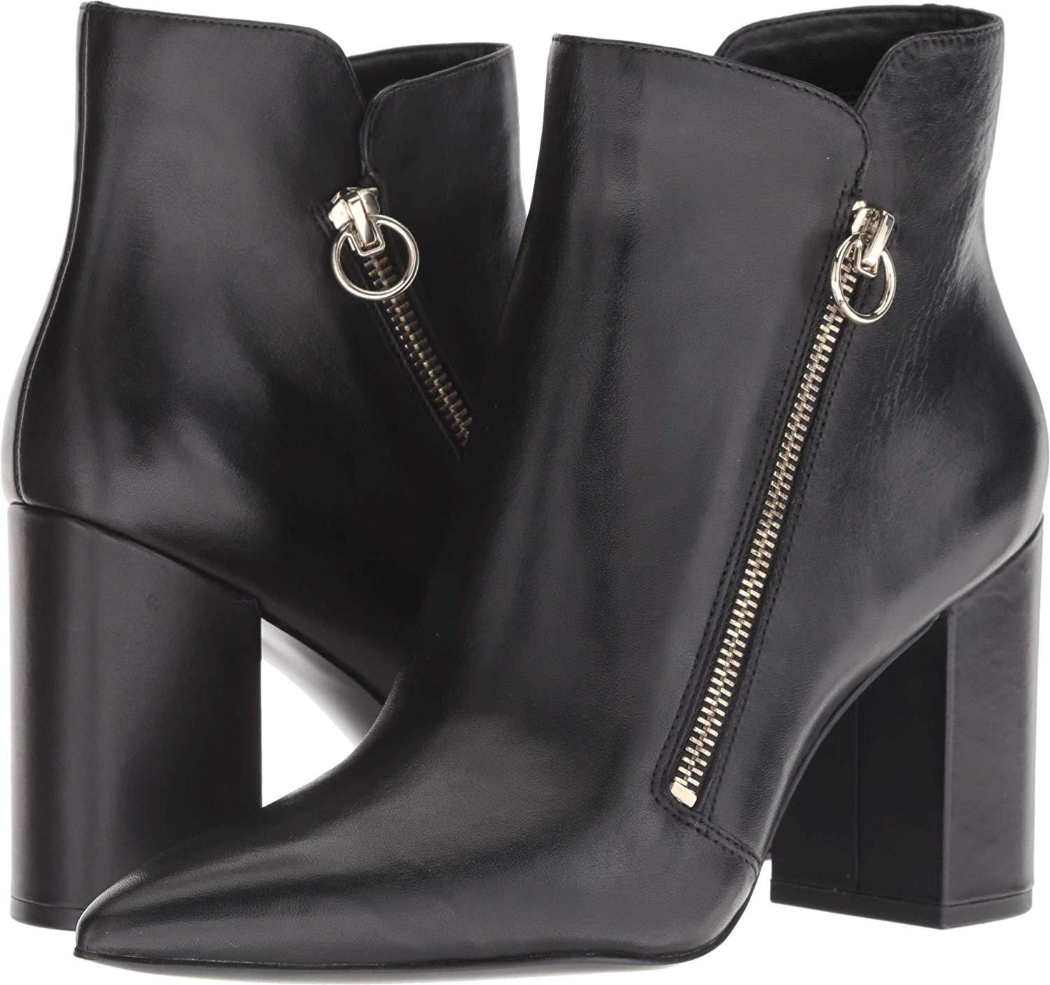 Nine West Russity Leather Ankle Boot Black Leather