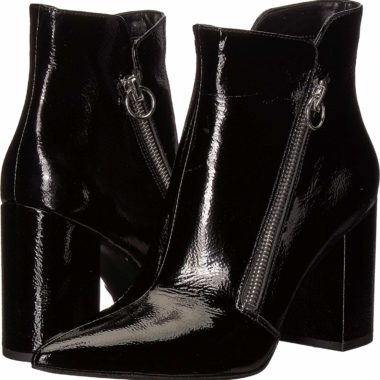 Nine West Russity Leather Ankle Boot Black Patent