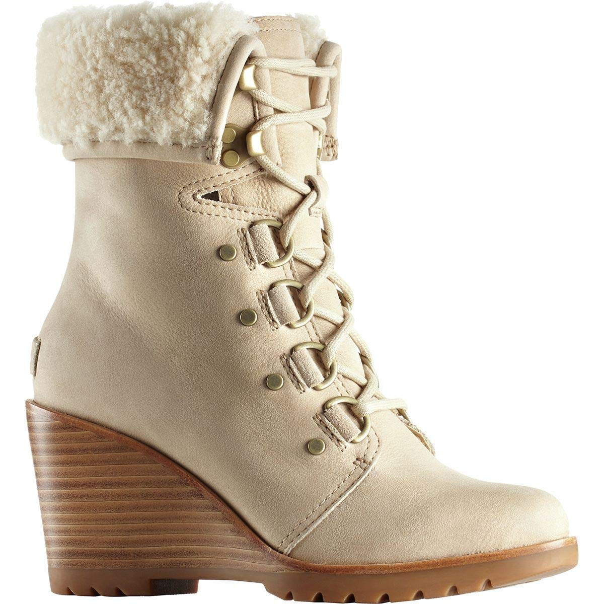 Sorel After Hours Lace Up Shea Boots Oatmeal Nubuck