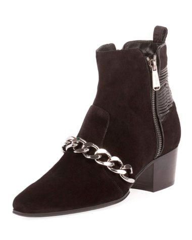 Balmain Black Suede Leather Ella Boots Chain Trim 01