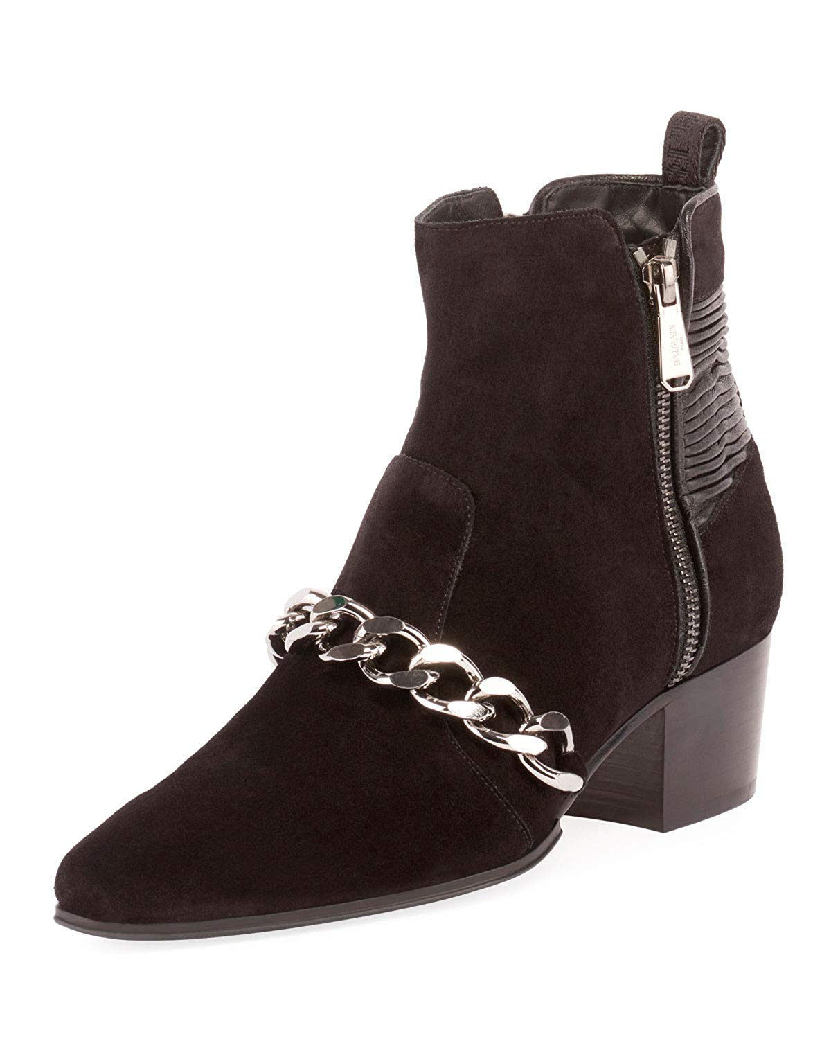 Balmain Black Suede Leather Ella Boots Chain Trim 01
