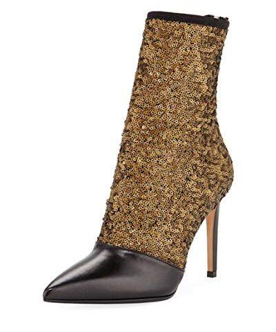 Balmain-Fay-Glitter-Ankle-Boots-40-KhakiBlack-0