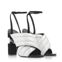 Balmain RN1C022LNVK9KA Silver Leather Sandals 01