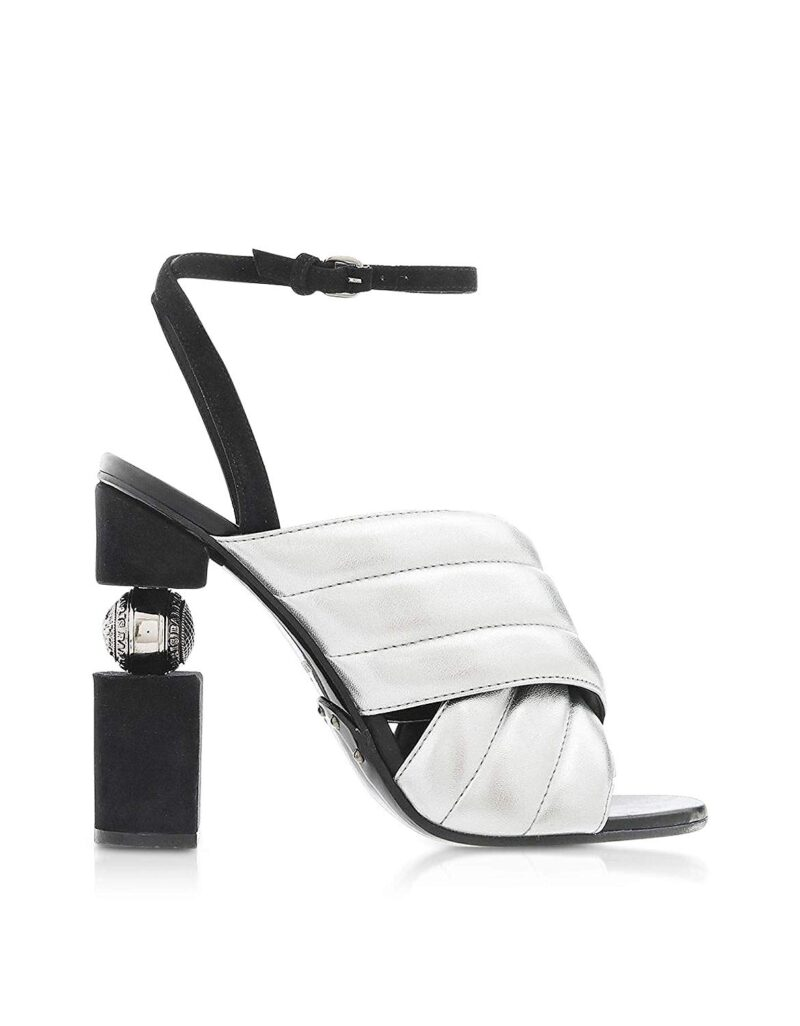Balmain RN1C022LNVK9KA Silver Leather Sandals 02