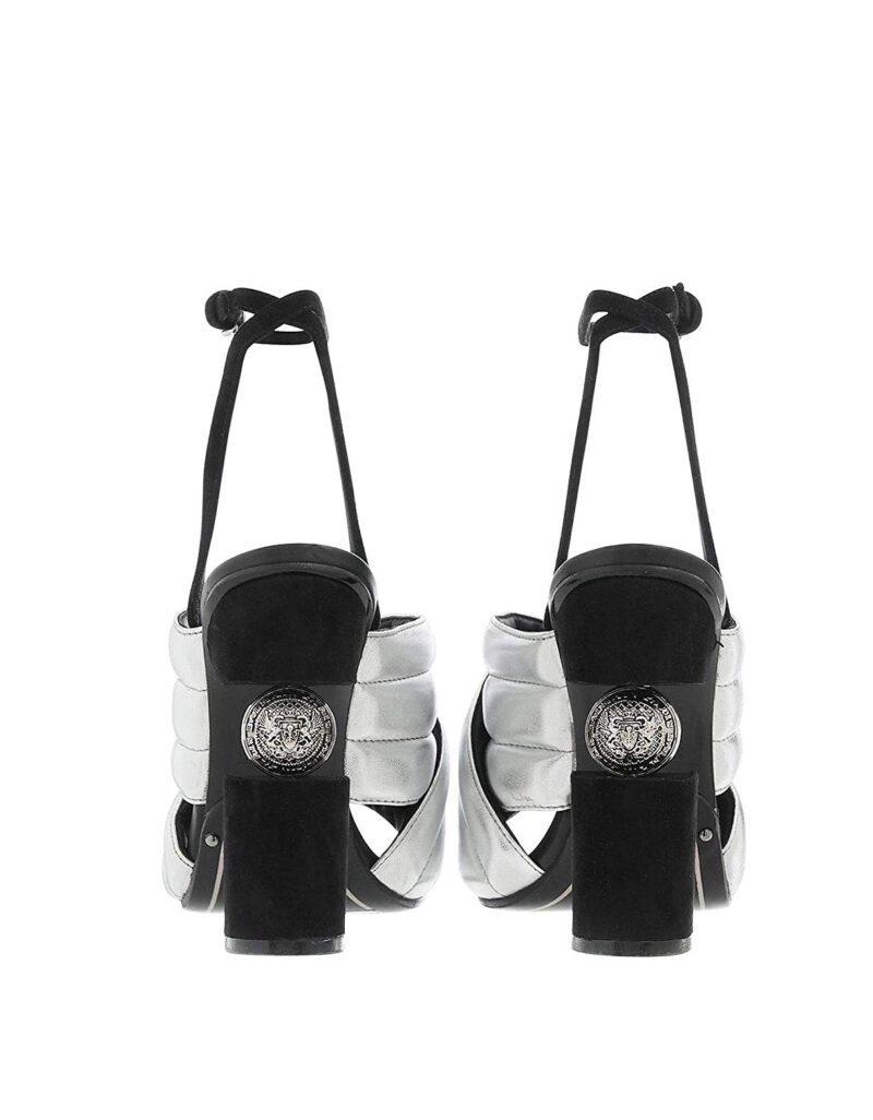 Balmain RN1C022LNVK9KA Silver Leather Sandals 03