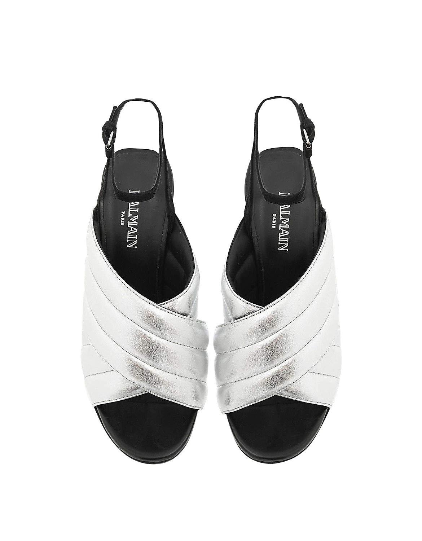Balmain RN1C022LNVK9KA Silver Leather Sandals 04