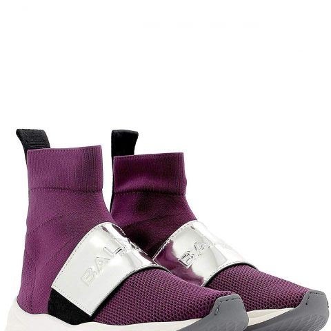Balmain RN1C038TCZHVAQ Purple Fabric Ankle Boots 01