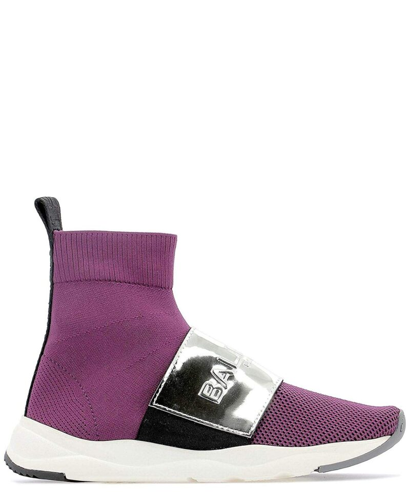 Balmain RN1C038TCZHVAQ Purple Fabric Ankle Boots 02