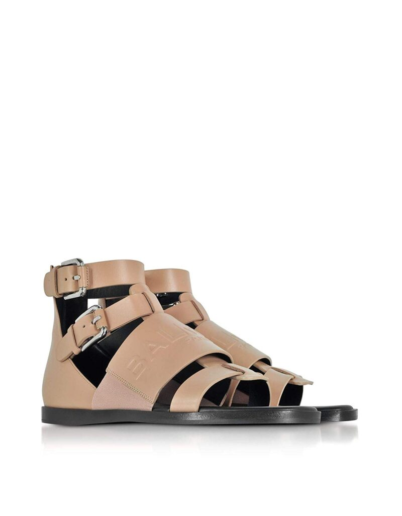Balmain S8FC156PGDB1021 Pink Leather Sandals 01