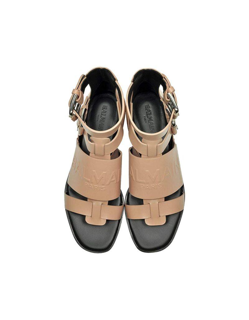 Balmain S8FC156PGDB1021 Pink Leather Sandals 04