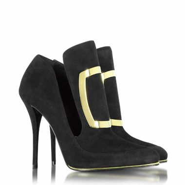 Balmain W6CES011104176 Black Suede Heels 01
