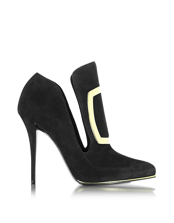Balmain W6CES011104176 Black Suede Heels 02