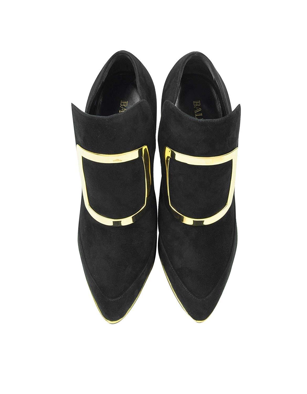 Balmain W6CES011104176 Black Suede Heels 04