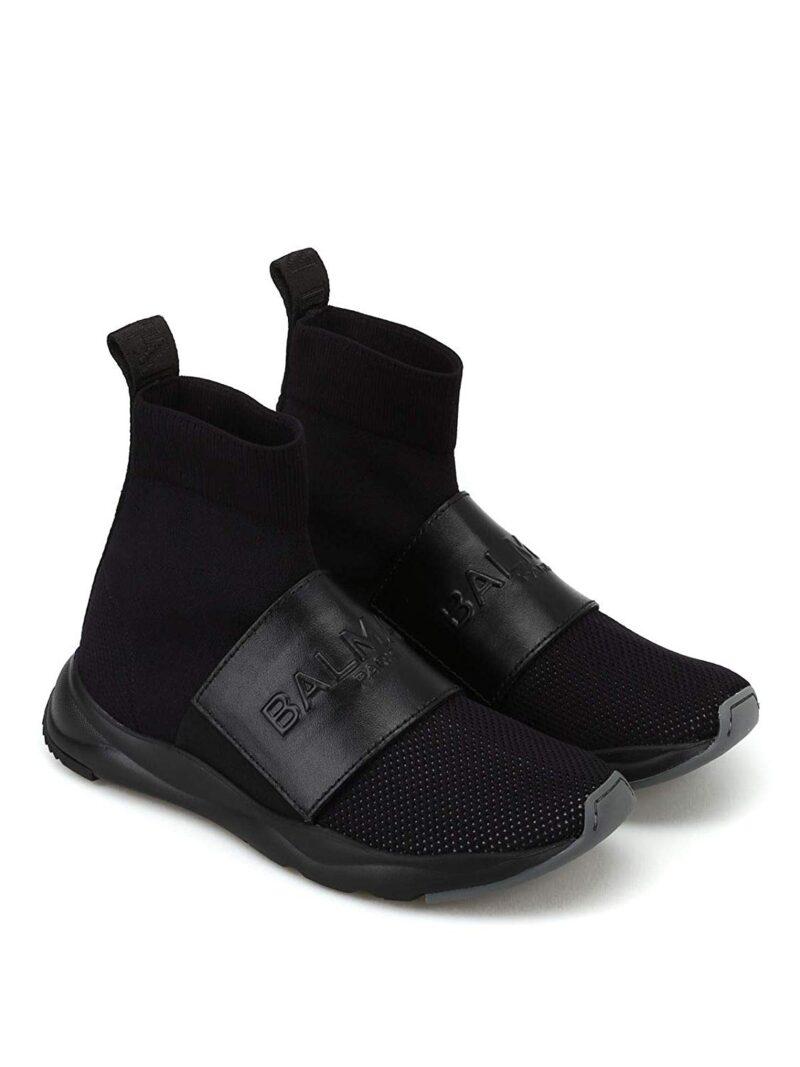 Balmain W8FC143PCZS176 Black Fabric Hi Top Sneakers 01