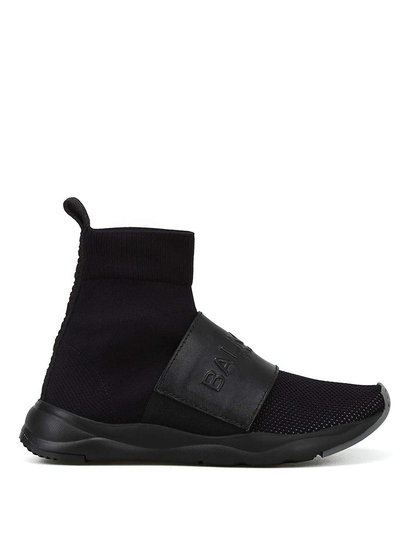 Balmain W8FC143PCZS176 Black Fabric Hi Top Sneakers 02