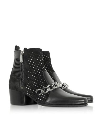 Balmain W8FC303PCBN176 Black Leather Ankle Boots 01