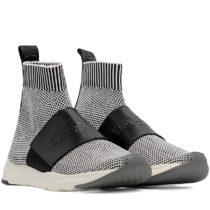 Balmain W8FC635PZLN181 WhiteBlack Fabric Hi Top Sneakers 01