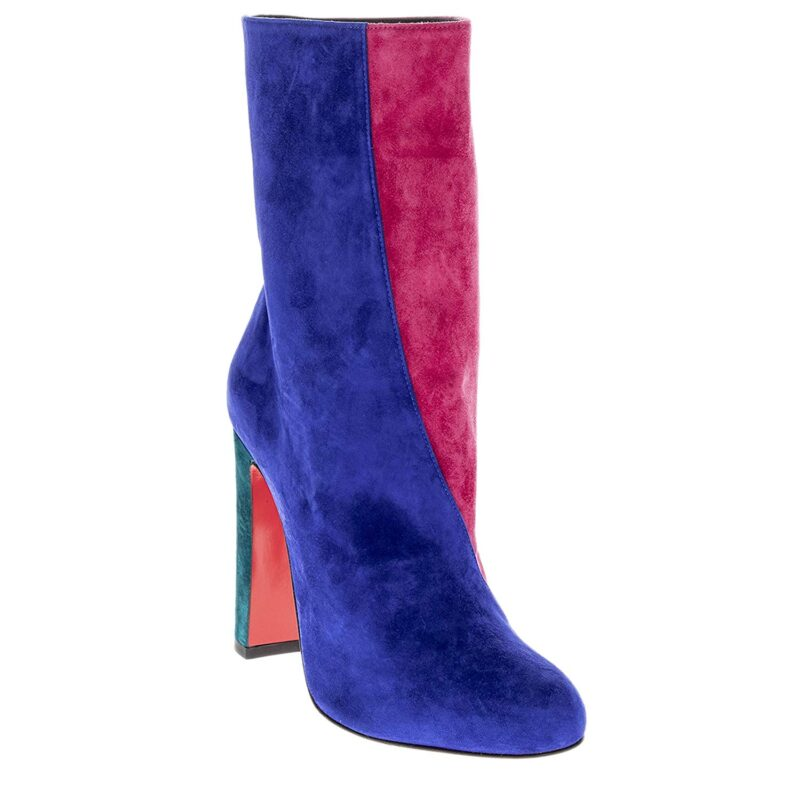 Christian Louboutin Botty Double Colorblock Suede Booties Blue Pink 01